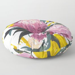 pivoine violette avec jaune Floor Pillow