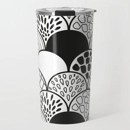black and white doodle scale arcs Travel Mug