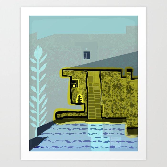 Animal Lover House with Pool Art Print