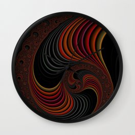 Colorful Abstract Zen Stripes Funky Stylish Red Gold Black Fractal Digital Graphic Art Design Wall Clock