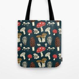 Mushroom Medley in Dark Teal Tote Bag