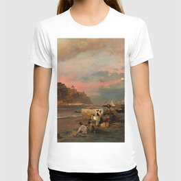 View of Ischia and Maronti Beach with Aragonese Castle by Oswald Achenbach Italian Landscape T-shirt