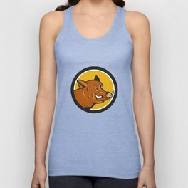 Wild Boar Razorback Head Startled Circle Cartoon Unisex Tank Top