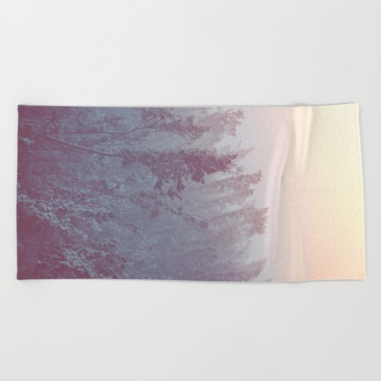 Forest Fog - Snowy Mountain Trees at Sunset Beach Towel