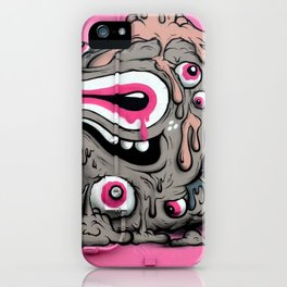 Urban Street Art: Pink Oozing Eye Creature (Buff Monster) iPhone Case