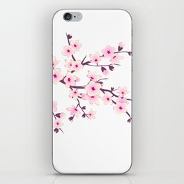 Cherry Blossom Pink White iPhone Skin