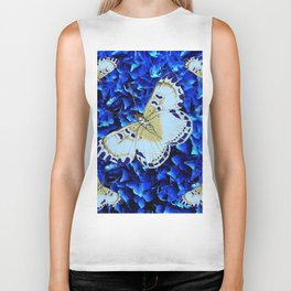 WHITE-PURPLE BUTTERFLIES BLUE MODERN ART Biker Tank