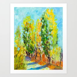 Colorful Poplar Trees - Original Oil on Canvas Painting, Unique Wall Art from Europe Art Print