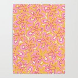 Retro Summer Flowers Pink Yellow Orange Cream Poster