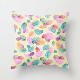 Easter eggs //Watercolor eggs and yellow wash background Throw Pillow