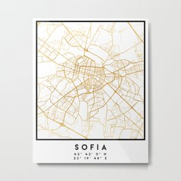 SOFIA BULGARIA CITY STREET MAP ART Metal Print