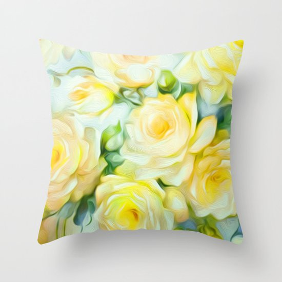 Shabby Chic Yellow Throw Pillow