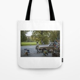Lady With Portable Street Shop Tote Bag