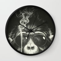 monkey island Wall Clocks featuring Smoke 'Em If You Got 'Em by Dr. Lukas Brezak