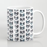 terrier Mugs featuring BOSTON TERRIER by Barbarian // Barbra Ignatiev