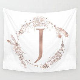 Letter J Rose Gold Pink Initial Monogram Wall Tapestry