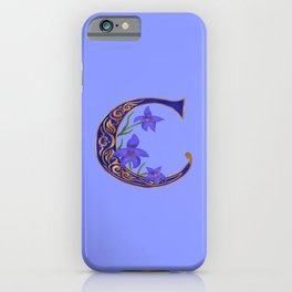 Floral Letter C Monogram iPhone Case