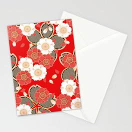 Japanese Vintage Red Black White Floral Kimono Pattern Stationery Cards