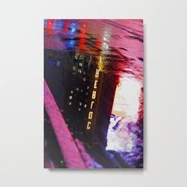 Neon Reflection Metal Print