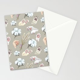 cat toe beans and cotton flowers Stationery Cards