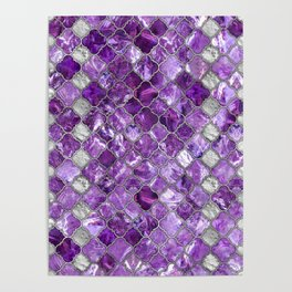 Quatrefoil Moroccan Pattern Amethyst and silver Poster