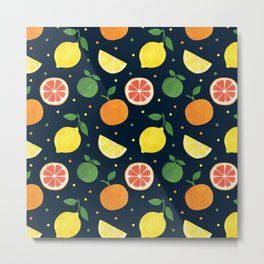 Modern navy blue orange yellow fruit polka dots Metal Print