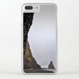 Cave at Reynishverfi Black Sand Beach on the Southern Coast of Iceland (3) Clear iPhone Case