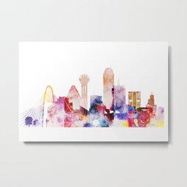 Watercolor Dallas skyline design Metal Print
