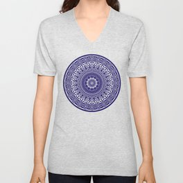 Mandala 006 Midnight Blue on White Background Unisex V-Neck