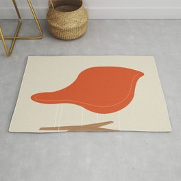 Orange La Chaise Chair by Charles & Ray Eames Rug