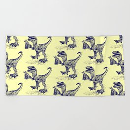 Tipsy Velociraptor with Beer Pattern Beach Towel