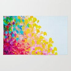 CREATION IN COLOR - Vibrant Bright Bold Colorful Abstract Painting Cheerful Fun Ocean Autumn Waves Rug