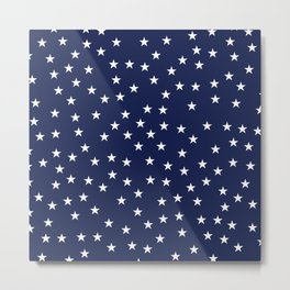 Navy blue background with white stars seamless pattern Metal Print
