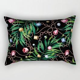 Glamorous Palm Black Rectangular Pillow