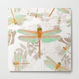 Dragonfly Botanical pattern Metal Print