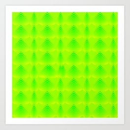Pearlescent pattern of lime hearts and stripes on a green background. Art Print