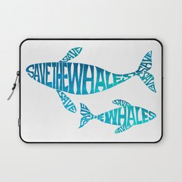 Save the Whales, Aqua blue Laptop Sleeve