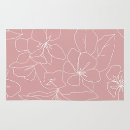 Floral Drawing on Pale Pink Rug