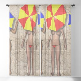 Sunbathing Females Under Umbrellas on a Beach Sheer Curtain