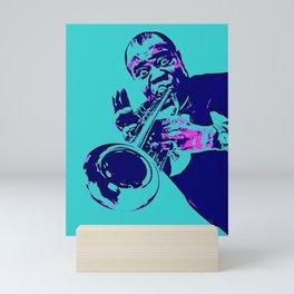 Teal Dreams Of Louis - Louie - Daniel Armstrong Satchmo - Satch - Pops - Pop Sketch-Art 78 Mini Art Print