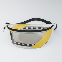 blank or empty 35mm dia film frame fixed by two yellow adhesive strips on white background, cool photo placeholder.  Fanny Pack