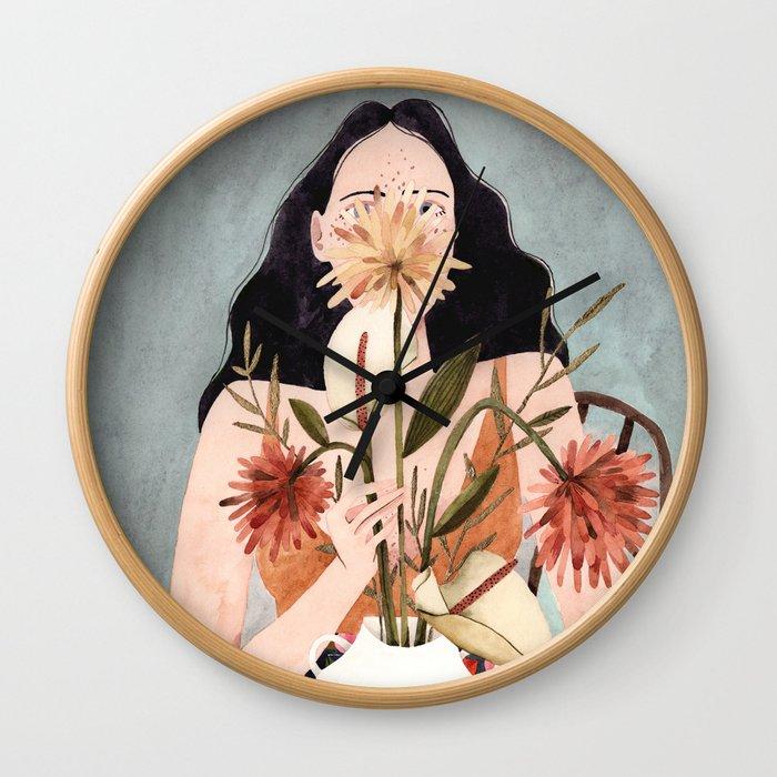 Hilda with vase Wall Clock