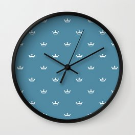 White Crown pattern on Blue background Wall Clock