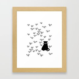 Cat and Birds with Attitude Framed Art Print