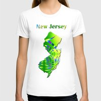 new jersey T-shirts featuring New Jersey Map by Roger Wedegis
