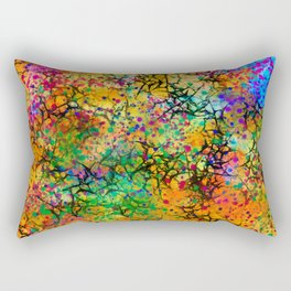 Yellow Abstract with Black Branching Rectangular Pillow