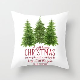 Watercolor Charles Dickens quote   Christmas card Throw Pillow