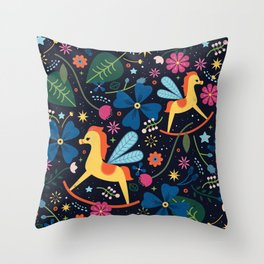 Rocking-Horse-Fly Throw Pillow