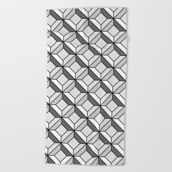 Squares in Gray Beach Towel