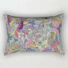 Colorful Flying Cats Rectangular Pillow